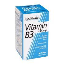 VITAMINA B3 NIACINAMIDA 250MG 90 TABLETAS VEGAN HEALTH AID