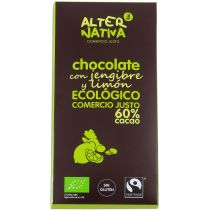 CHOCOLATE 60% CON JENGIBRE Y LIMÓN DE COMERCIO JUSTO Y ECOLOGICO ALTERNATIVA 3